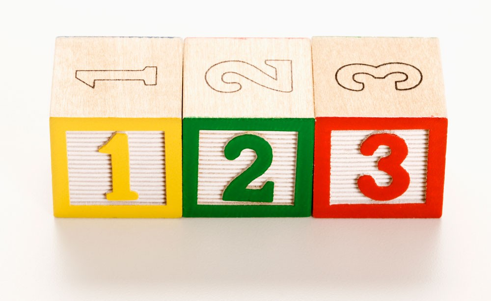Numbered toy blocks