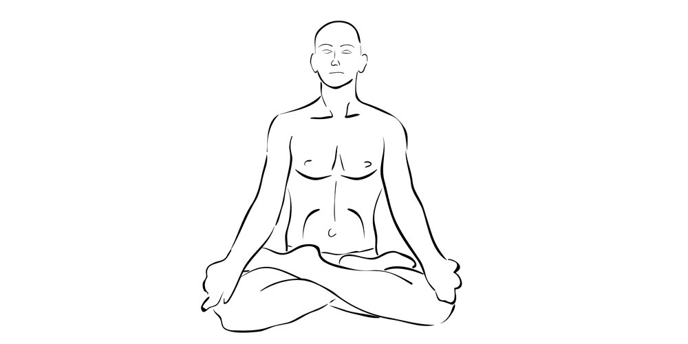 Illustration of man meditating in lotus position