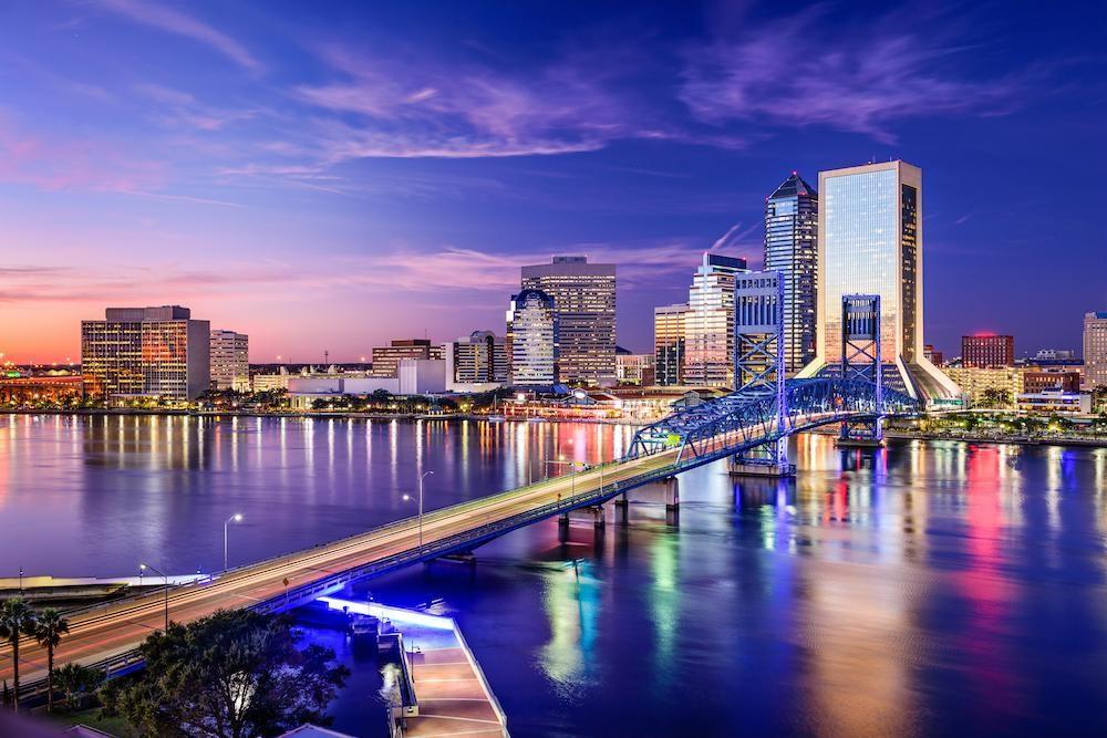 Jacksonville skyline at dusk