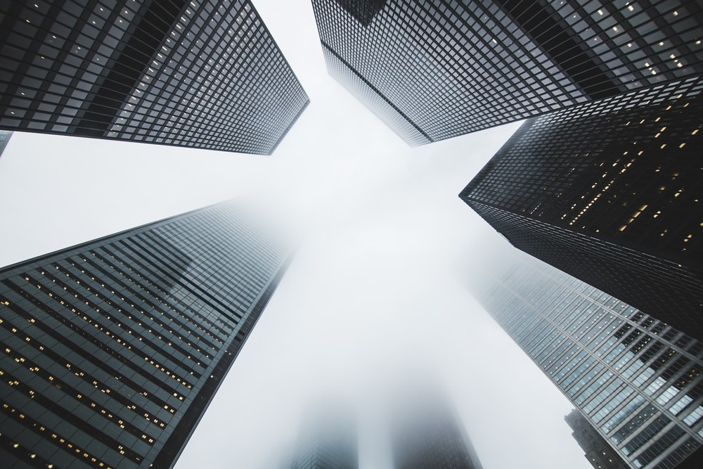 Abstract view of skyscrapers