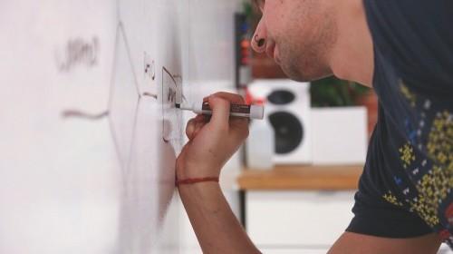 B2B tech startup whiteboard sketch