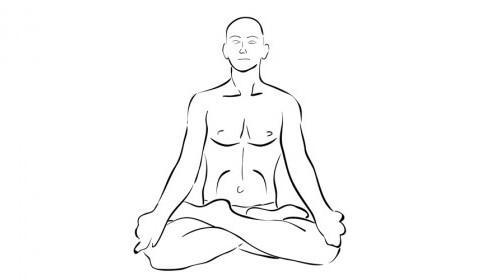 Illustration of man meditating in lotus position