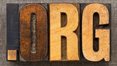Wooden blocks spelling org